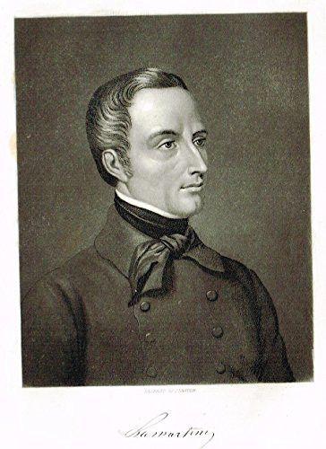 """Tappan's Illustrious Personages - """"ALPHONSE DE LAMARTINE"""" - Mezzotint - 1853"""
