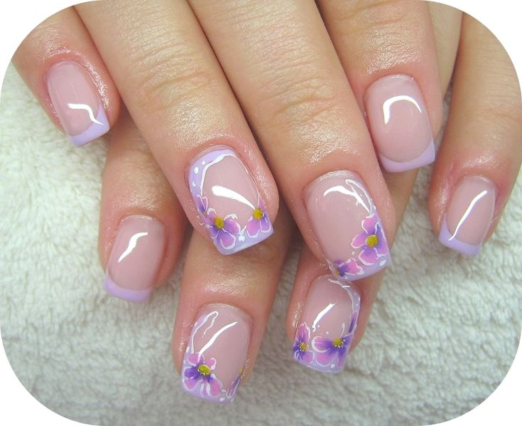 Lilac flower nail art by Tornai