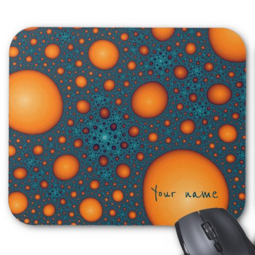 Mouse Pad Vibrant orange bubbles on a cyan background. Unique stylish abstract pattern. Cool fractal art. Modern and trendy. You can add your name or custom text on bubbles. #customized #personalized #POD #graphics #artwork #buy #sale #giftideas #zazzle #discount #deals #gifts #shopping #mostpopular #trendy #cool #best #unique #stylish #gorgeous #funny #orange #cyan #blue #aquamarine #bright #abstract #bubbles #name #text #mousepad