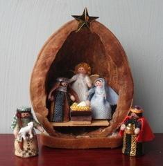 walnut shell Nativity Scene