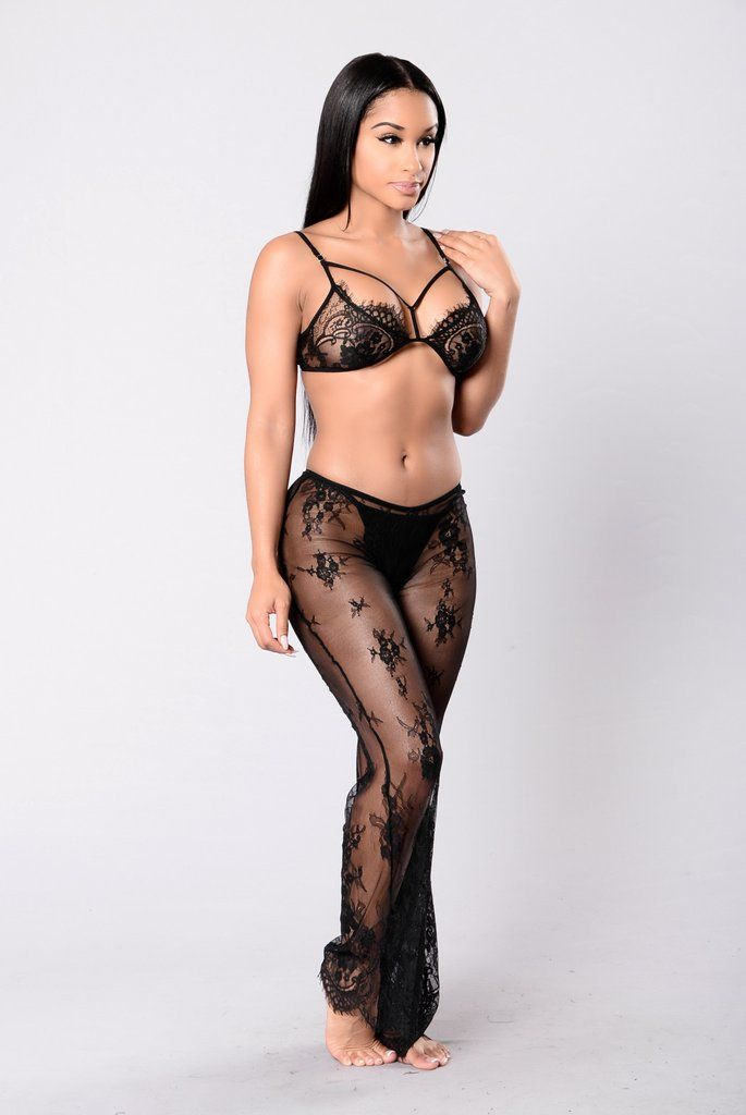 - Available in Black - 2-Piece Set - Lace - Sheer - All Lingerie FINAL SALE - Nylon, Spandex Bra: - Criss Cross Front - H& E Closure Pants: - Elastic Waistband - Flared