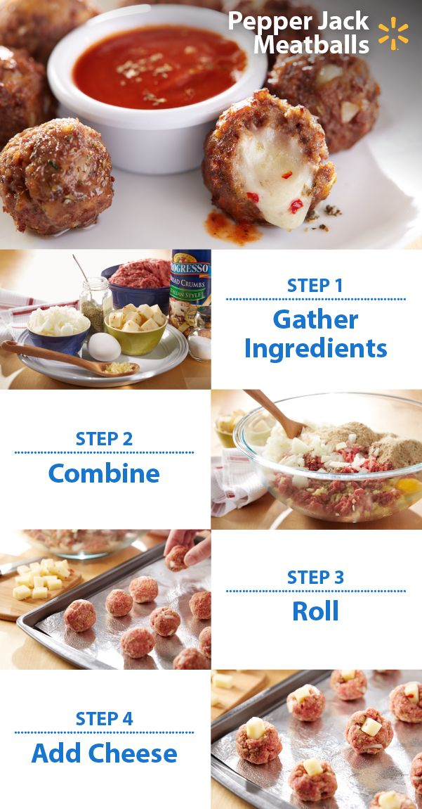 These tangy meatballs will add a special zip to your next tailgate. Football fans love finger food. This appetizer is quick and easy-to-make. Gooey centers of pepper jack cheese add a flavor explosion that will make mouths water.  Post a photo of your Game Time snack fave on Twitter or Instagram w/ #walmartMVPcontest. You could win a trip to YouTube Space L.A. to help film a video! NO PURCHASE NECESSARY. Enter Contest by: 12/14/15 at 11:59 p.m. CT. For Official Rules, visit Walmart.com/mvp.