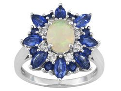.53ct Oval Ethiopian Opal, 1.75ctw Blue Kyanite With .36ctw Round White Zircon Silver Ring