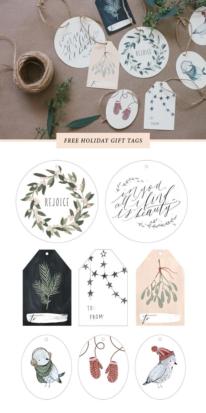 Free printable holiday tags //  Kelli Murray
