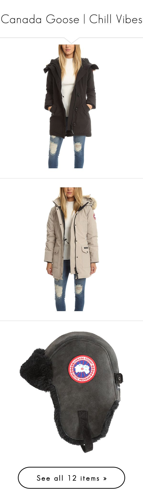Canada Goose | Chill Vibes by blueandcream on Polyvore featuring women's fashion, outerwear, coats, women, canada goose, utility coat, parka coat, white parka, white parka coat and pink parkas