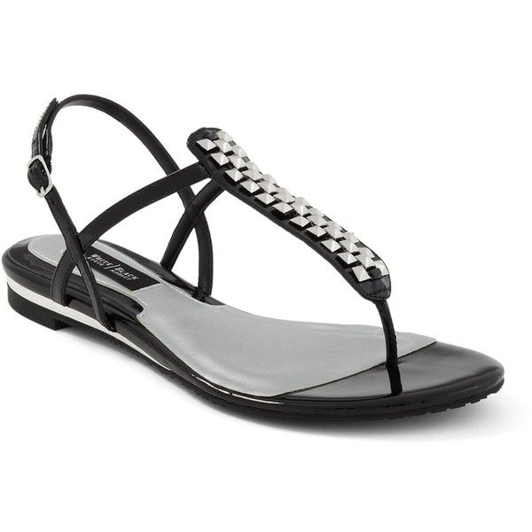 Patent Leather Embellished Sandal (850 UYU) ❤ liked on Polyvore featuring shoes, sandals, sapatos, flats, black, pointed flat shoes, embellished flats, patent leather sandals, black patent leather shoes and pointy-toe flats