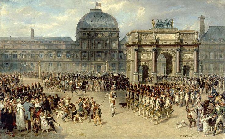 """""""Une revue sous l'Empire"""", par Bellangé, musée du Louvre. La composition de ce tableau place J.N.Sénot au centre de la toile"""