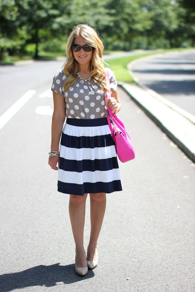 stripes and polka dots pattern mixing outfit, click through for all of the details!
