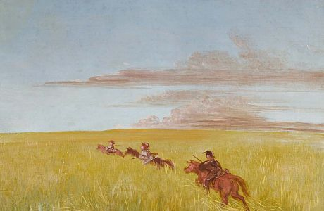 """Bogard, Batiste, and I, Traveling through a Missouri Bottom"", 1837-1839, George Catlin, oil on canvas, 19 5/8 x 27 1/2 in. (49.7 x 70.0 cm), Smithsonian American Art Museum, Gift of Mrs. Joseph Harrison, Jr., 1985.66.481"