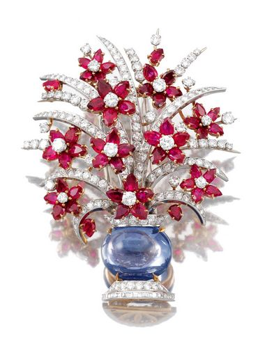"""Cabochon Sapphire, Pear Shaped Ruby And Brilliant-Cut And Baguette Diamond Brooch - Signed """"Bulgari"""" c.1965  -  Sotheby's"""