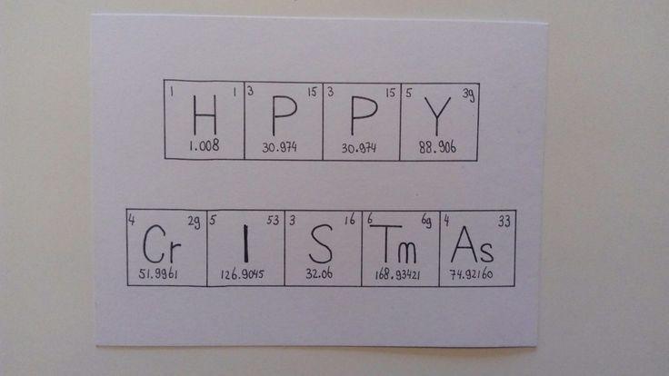 Kerstkaart gebaseerd op het periodiek systeem der elementen (scheikunde).