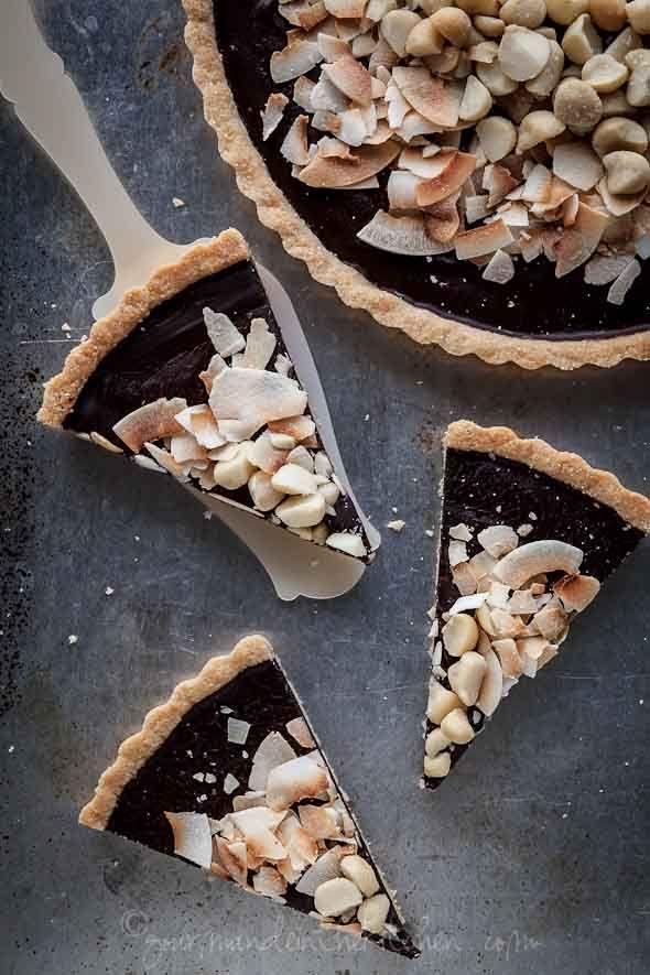 Chocolate, Coconut, Macadamia Nut Tart Recipe (Gluten-Free, Paleo, Ve ...