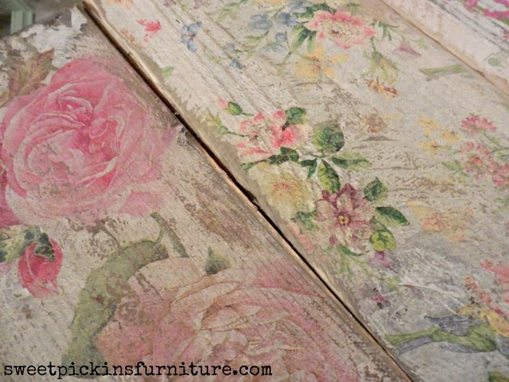Sweet Pickins - napkins on wood - I especially like the look of the right-hand piece, especially how much it's been distressed. I have an old dining chair that I use on my porch that might like this!