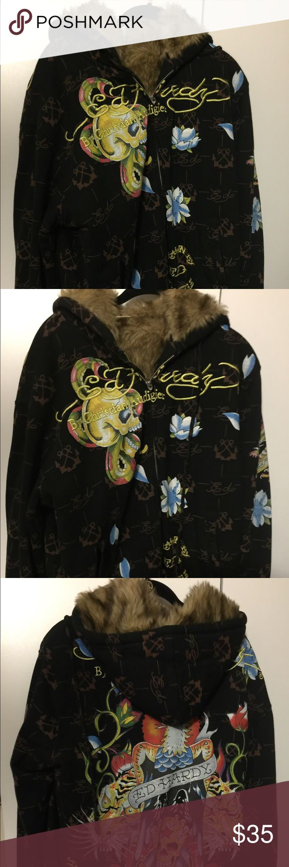 Ed hardy fur lined hoodie Fur lined ver good condition, but missing string in hood and zipper pull, zipper works fine Ed Hardy Shirts Sweatshirts & Hoodies