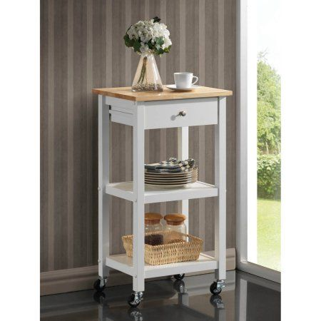 Roundhill Wood Kitchen Cart on Wheels, Multiple Colors Available, White