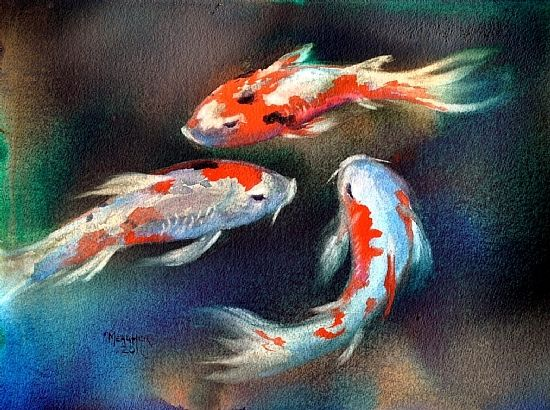 Swirl of color by spencer meagher watercolor 12 x 16 for Easy fish painting