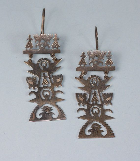 Vintage Mexican Earrings Sterling Mayan Design By PastSplendors