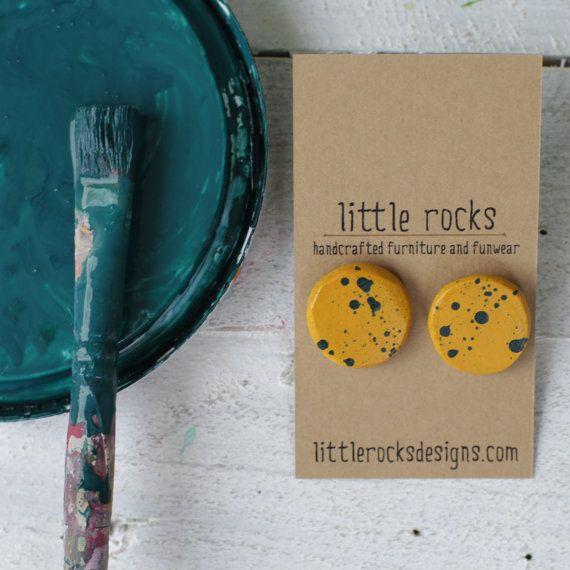 Mustard with blue speckles large round earrings by littlerocksPK