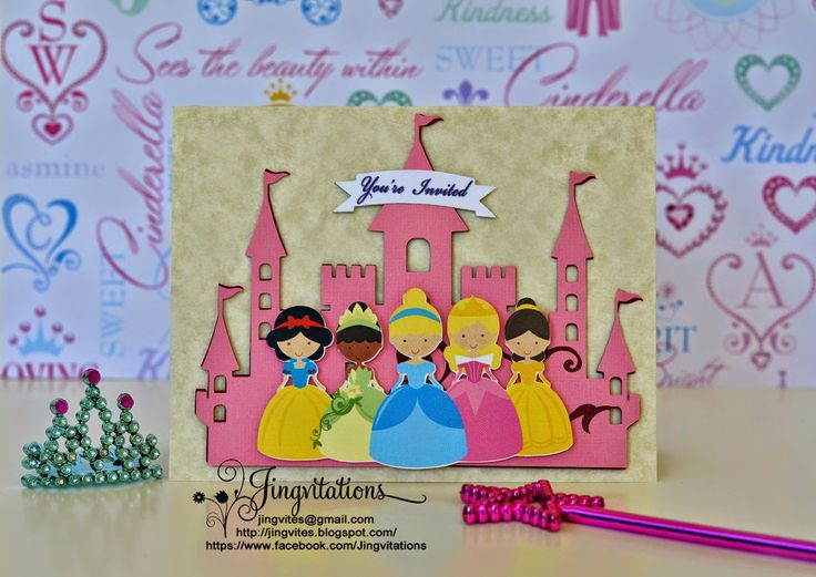 disney princess tiana snow white belle sleeping beauty cinderella birthday invitations in pink castle
