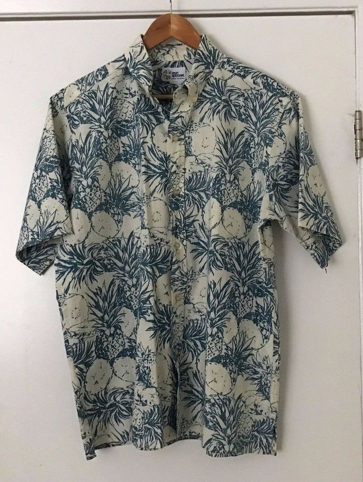 Reyn Spooner Hawaiian Shirt Large Blue/White Floral Pineapple Print Cotton Blend #ReynSpooner #Hawaiian