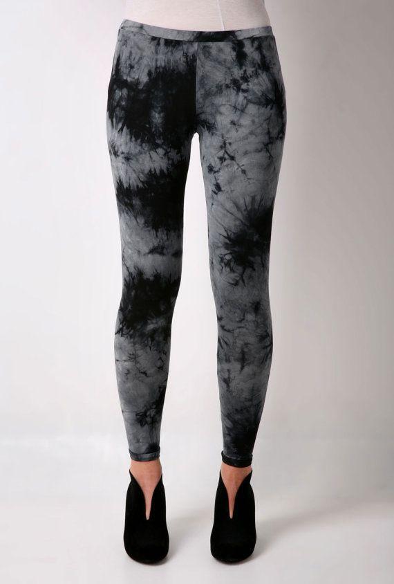 Leggings Blue Indigo Tie Dye Cotton Yoga Pants by CardamomClothing