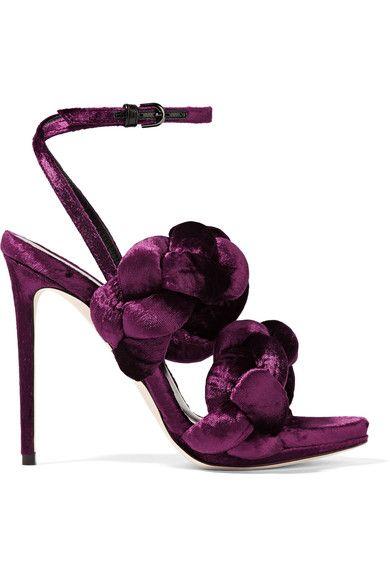 Marco De Vincenzo - Braided Velvet Sandals - Grape - IT36.5