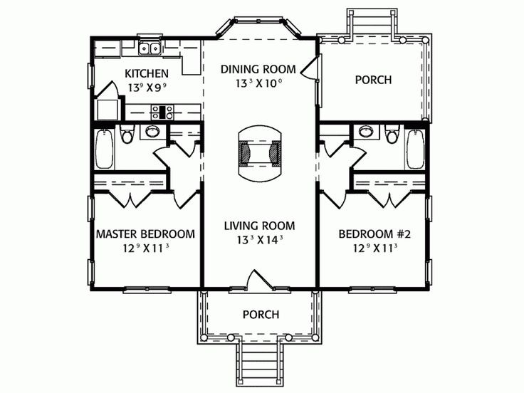 2 Bedroom Floor Plan Very Workable For Us If We Enclosed The Back