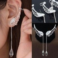Wish   Angel Wing Silver Plated Crystal Chain Drop Dangle Ear Cuff Stud Clip Earrings