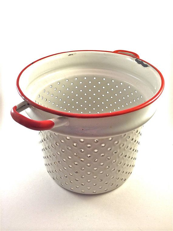 "Vintage White and Red Enamel - Enamelware Tall Colander - Strainer - Kitchen Tool. ""Repinned by Keva xo""."