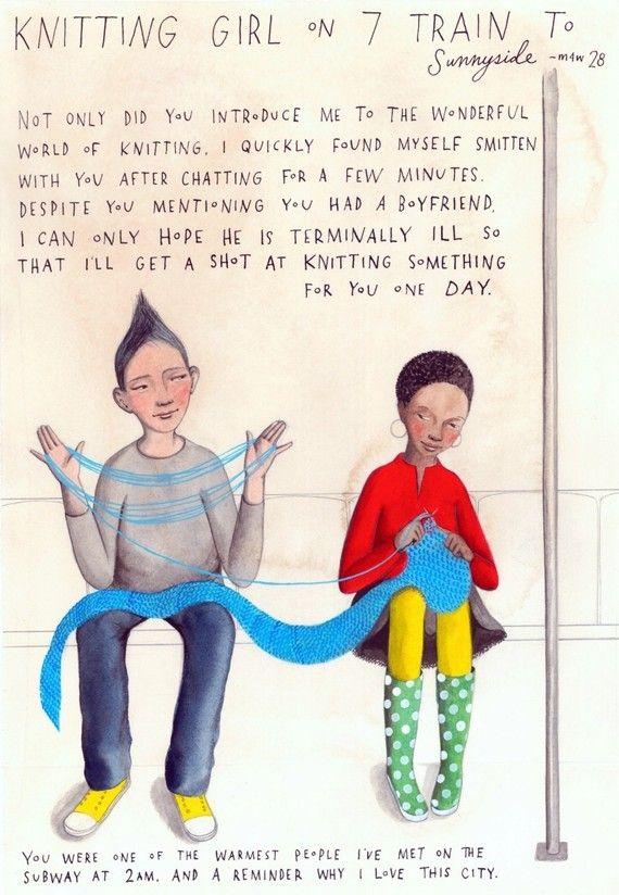 Knitting Girl on 7 Train to Sunnyside