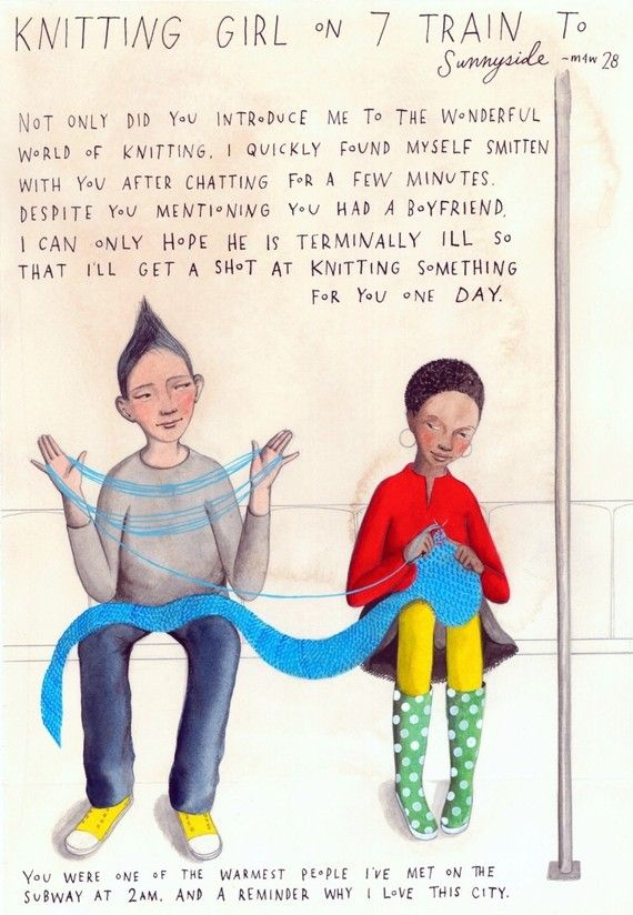 Totally cute print celebrating two favorite pleasures: knitting & Missed Connections