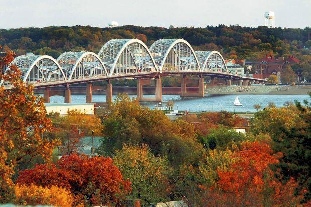 Centennial Bridge in the Fall.