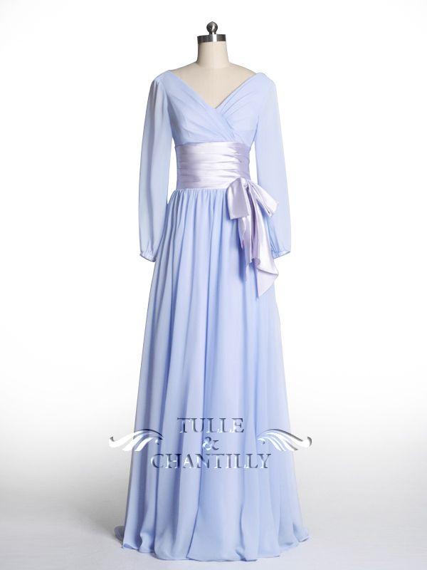 Modest Shiny Chiffon Empire Bridesmaid Dress with Long Sleeves
