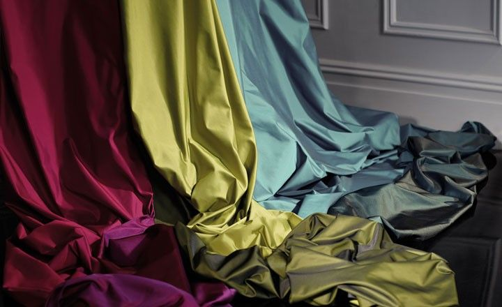 Two washable wide-width faux silks (Argento & Sirente): one with the light, crisp texture of taffeta and the other with a smooth, supple handle that drapes beautifully. From Romo