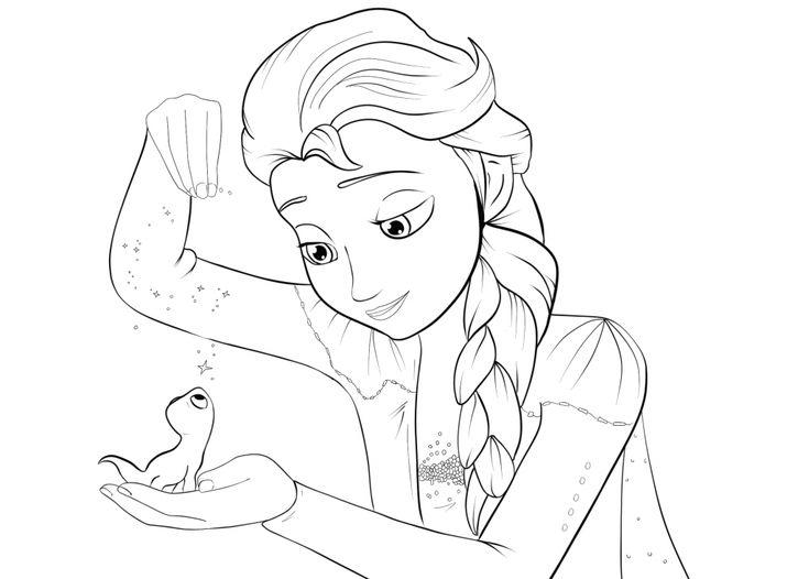 Elsa Frozen 2 Coloring Page | Frozen Coloring book in 2020 ...