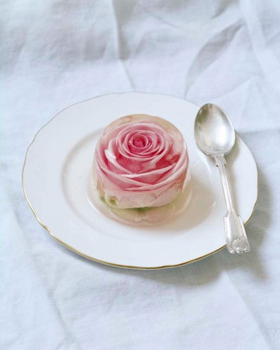 Rose This appears to be a real rose inside a clear gelatin aspic