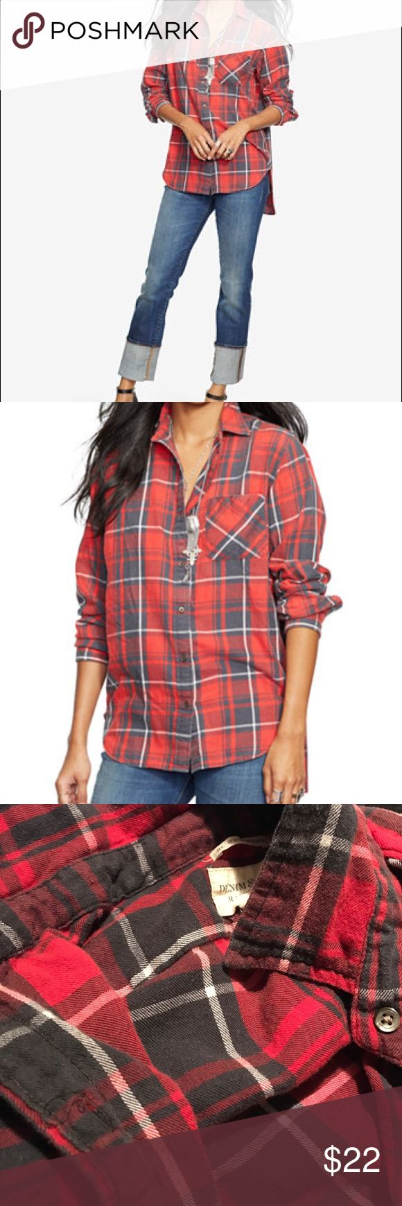 Denim Supply Ralph Lauren Boyfriend Shirt Oversized! I am a Medium and this xs fits normal. I have worn a couple times but in good condition. So comfy. This plaid shirt doesn't look cheap like other shirts like this do. The feel and how it wears with the lightly faded look, makes it look much more put together and you can tell the quality in it. Denim & Supply Ralph Lauren Tops Button Down Shirts