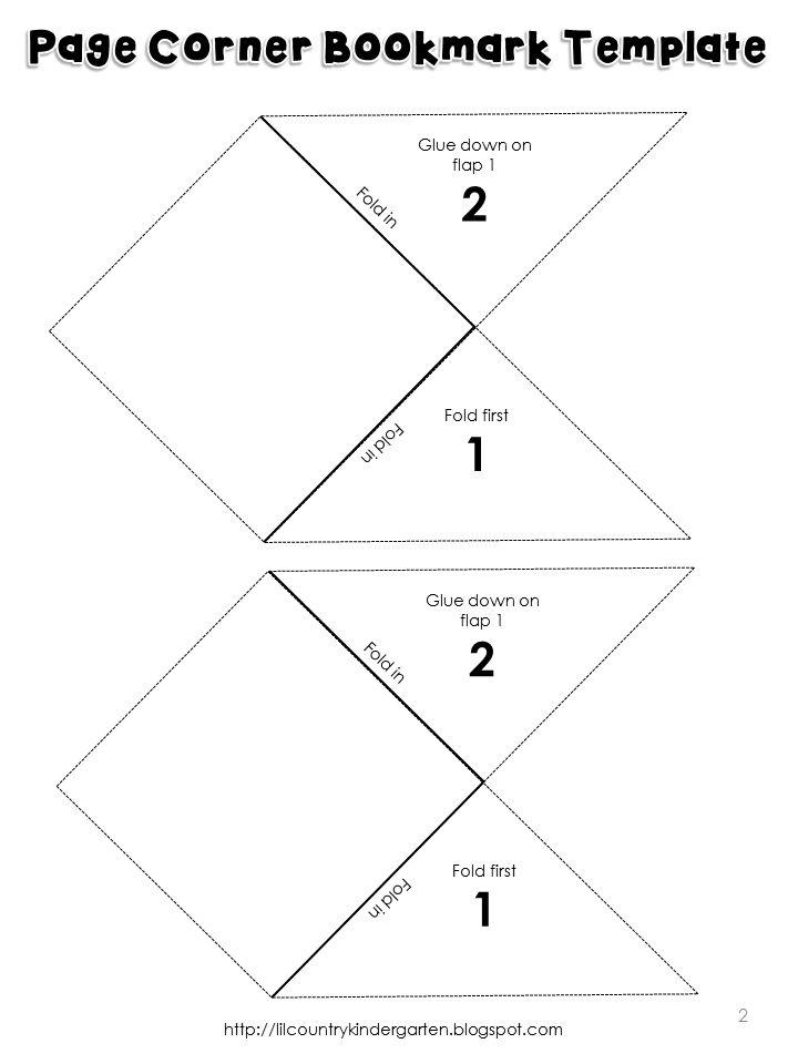 Free page corner bookmark template printable
