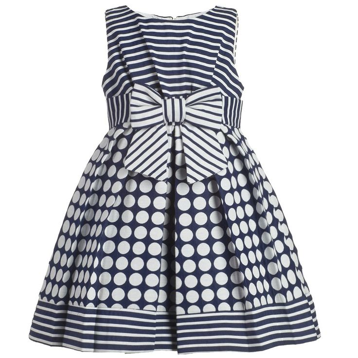 Girls Navy Blue Polka Dot Dress | Childrensalon