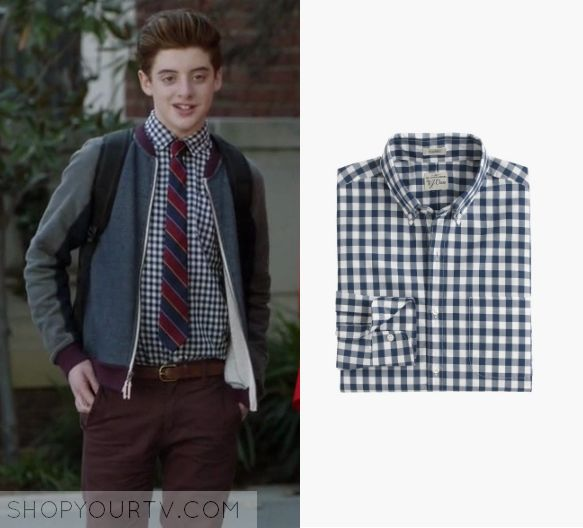 """The Mick 1x15 - Chip Pemberton (Thomas Barbusca) wears this gingham check print button down shirt in this episode of The Mick, """"The Sleepover"""". It is the J Crew Secret Wash Shirt in Faded Gingham."""