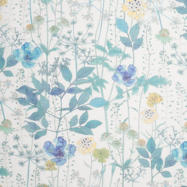 Liberty of London Irma Turquoise Blue Silk-Cotton Voile Fabric by the Yard   Mood Fabrics