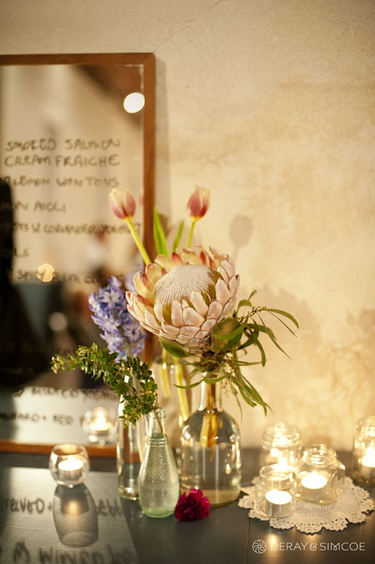 King protea. DIY vintage wedding reception styling, ideas and inspiration.  Reception Venue: St Paul's, Beaconsfield  Photography by DeRay & Simcoe