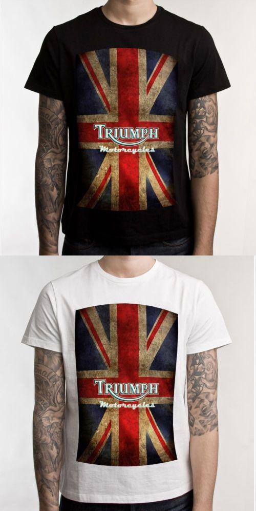Triumph Motorcycle Biker Custom Mens T-Shirt 100% Cotton Short Sleeve Print Tee T Shirt Black S-XXXL