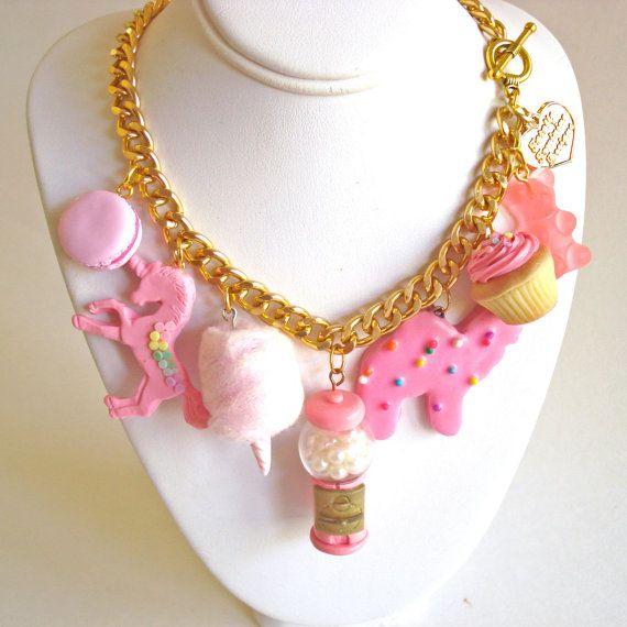 Klassieke roze charme ketting roze Candy door FatallyFeminine