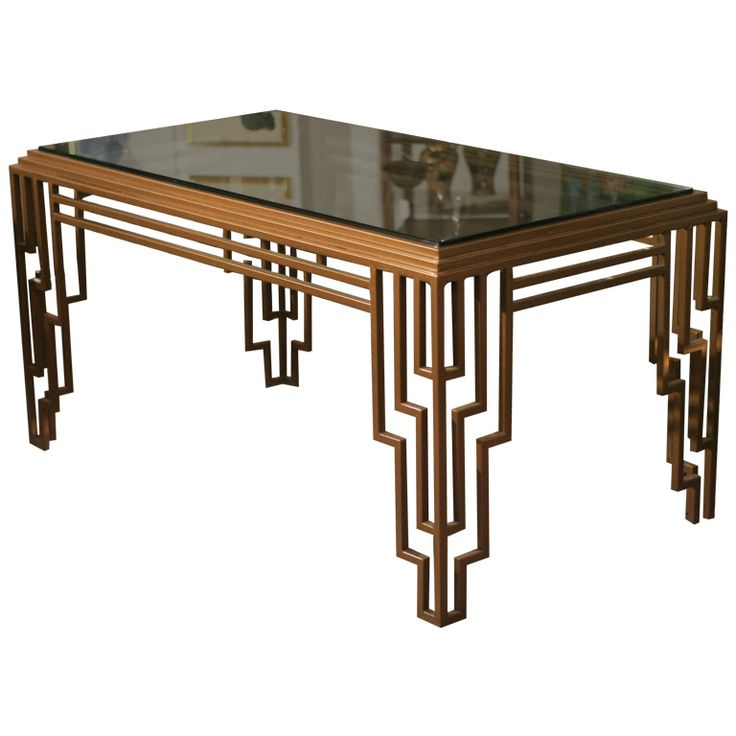 Art Deco Style Stepped Geometric Dining Table / Desk | From a unique collection of antique and modern dining room tables at https://www.1stdibs.com/furniture/tables/dining-room-tables/