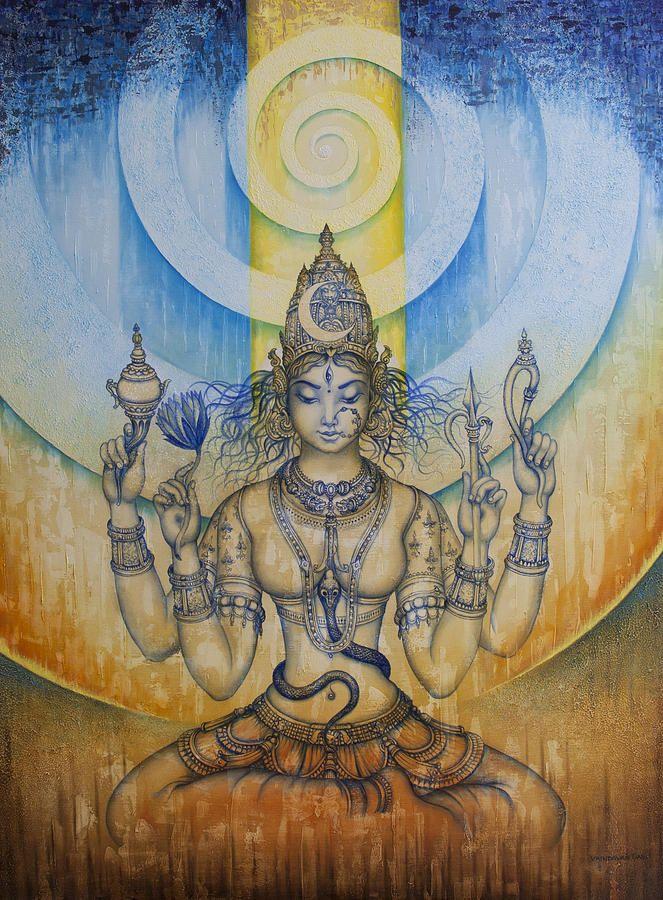 Tripura Sundari Fine Art Print: Gold silver and Iron symbolize this Indian goddess of Religious devotion, forgiveness, relationships, kindness, truth, spirituality, patience, restoration.