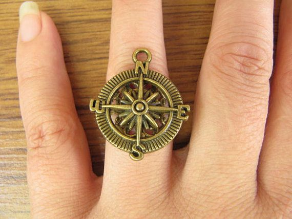The compass ring wheel Adjustable ring Pirates steampunk antique jewelry on Etsy, $2.10