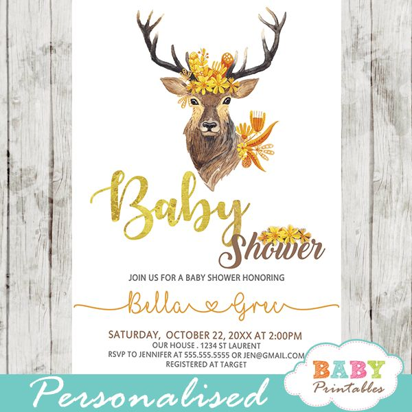 Fall Mums Deer baby shower invitations to celebrate the new arrival. These personalized deer baby shower invitations feature a buck head adorned with a beautiful arrangement of golden yellow fall mum flowers in watercolor against a white backdrop. The calligraphy comes in warm autumn yellow, brown and orange color accents.