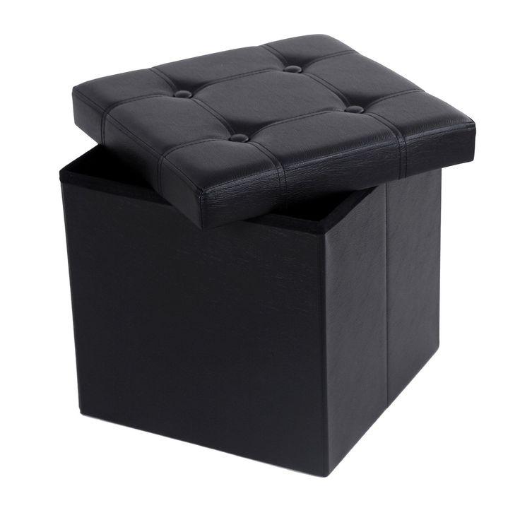 Songmics 38x38x38 cm Pouf Cubo Poggiapiedi Contenitore Sgabello Pieghevole LSF30B