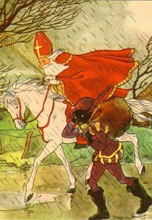 Sinterklaas en Zwarte Piet in de regen